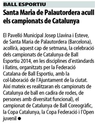 Campionats de Catalunya 2014 (Estil Internacional) al Mundo Deportivo  | Federació Catalana de Ball Esportiu