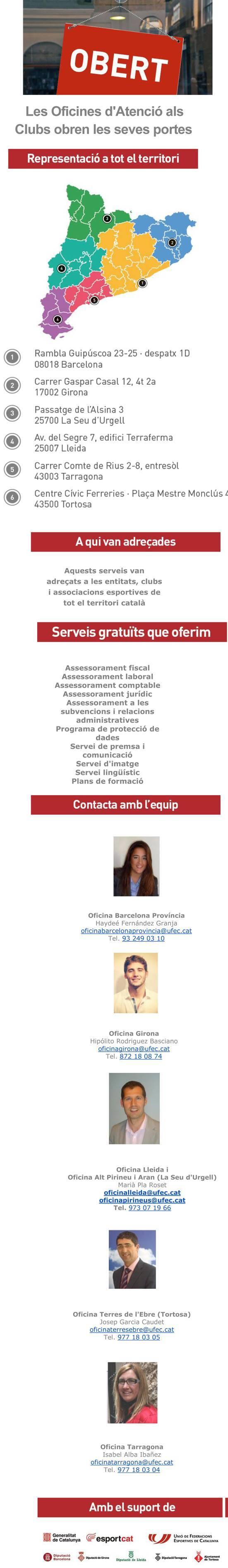 Oficines de la UFEC per l'atenció als clubs esportius federats  | Federació Catalana de Ball Esportiu