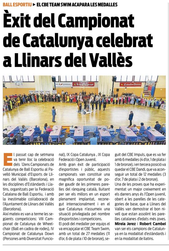 Campionats de Catalunya 2016 (Estàndards i Llatins) a la premsa  | Federació Catalana de Ball Esportiu