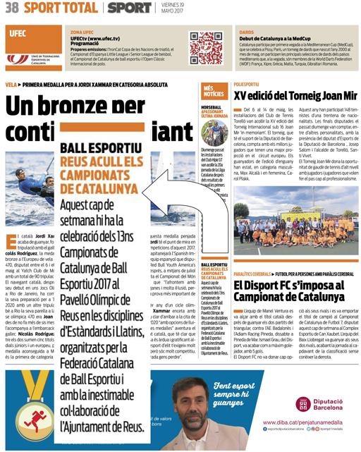 Els Campionats de Catalunya a Reus, al diari Sport  | Federació Catalana de Ball Esportiu