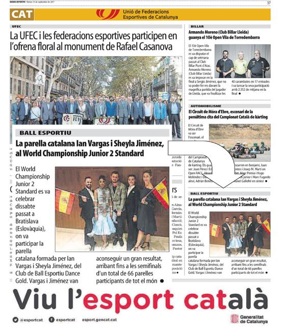WDSF World Júnior 2 Estàndards a la premsa  | Federació Catalana de Ball Esportiu