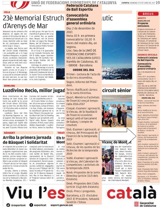 Convocatòria Assemblea General Ordinària 2017 a la premsa  | Federació Catalana de Ball Esportiu