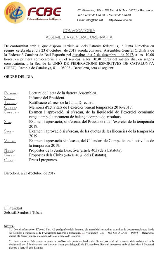 Convocatòria Assemblea General Ordinària 2017  | Federació Catalana de Ball Esportiu