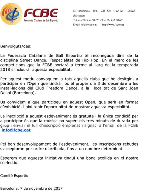 Open Hip Hop (Exhibició)   | Federació Catalana de Ball Esportiu