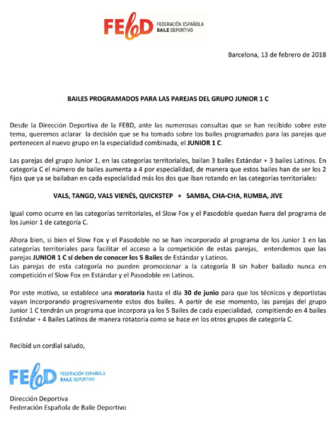 Comunicat de la Dirección Deportiva de la FEBD   | Federació Catalana de Ball Esportiu