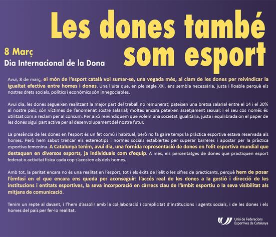 Manifest del món de l'esport   | Federació Catalana de Ball Esportiu