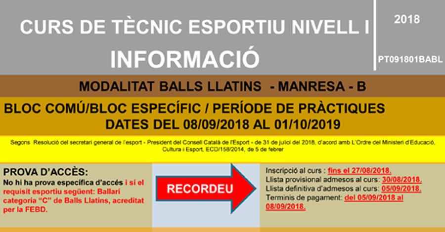 Curs de Tècnic Nivell 1 en Ball Esportiu Llatins (Nou)