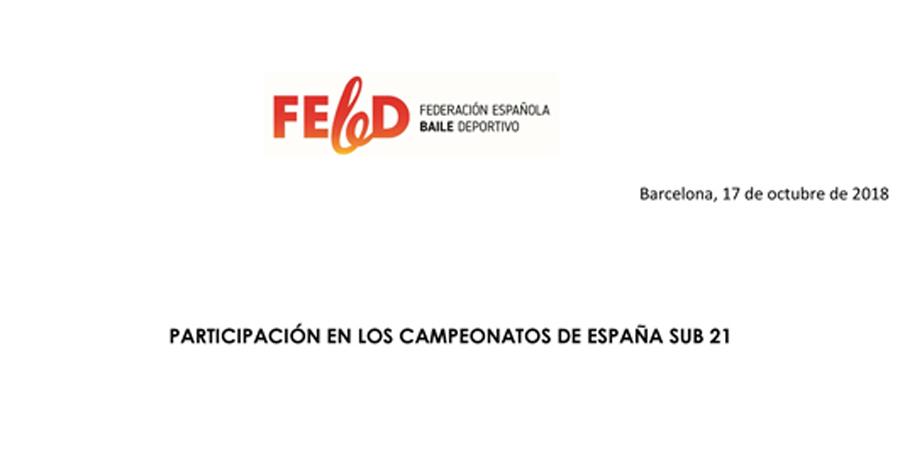 Requisits participació en Campionats d'Espanya Sub 21