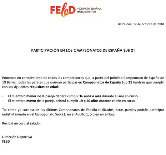 Requisits participació en Campionats d'Espanya Sub 21   | Federació Catalana de Ball Esportiu