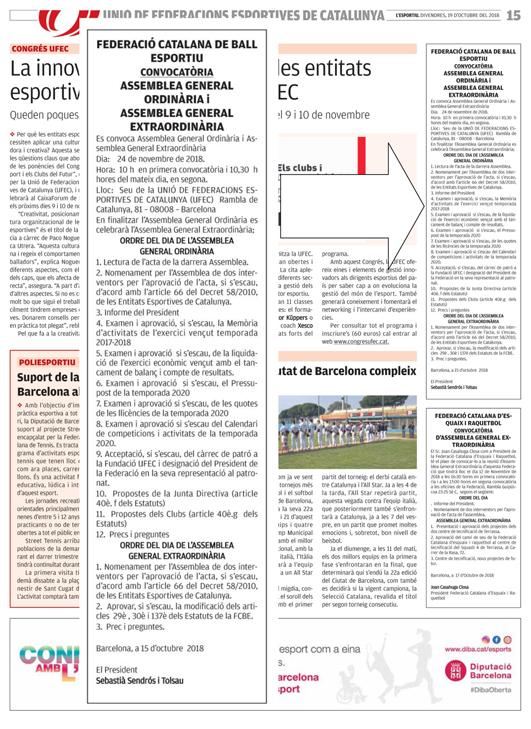 Publicació AGO i AGE 2018 a la premsa    Federació Catalana de Ball Esportiu