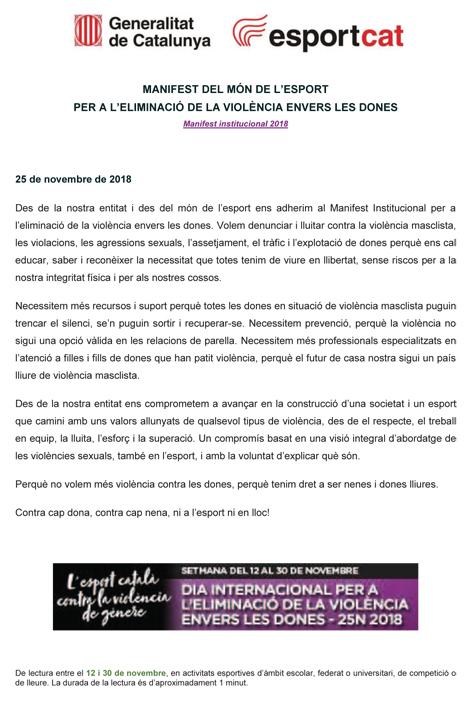 Dia Mundial per a l'eliminació de la violència envers les dones 2018  | Federació Catalana de Ball Esportiu