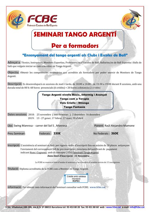 Seminari Tango Argenti a Manresa    Federació Catalana de Ball Esportiu