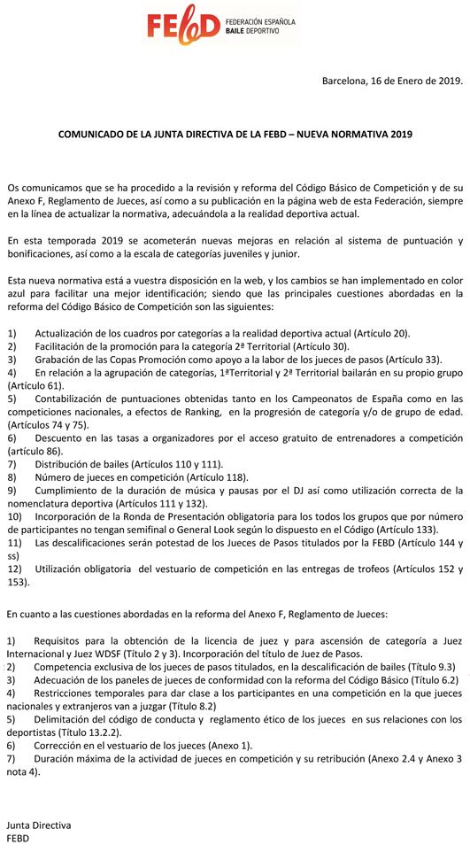 Canvis en normativa de la FEBD pel 2019     Federació Catalana de Ball Esportiu