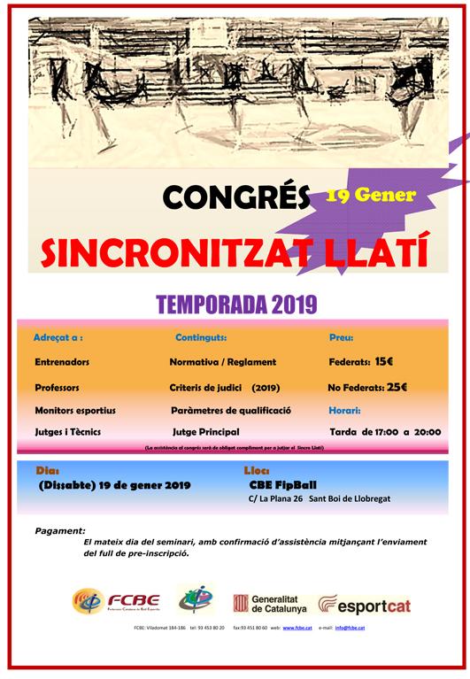 Congrés Ball Sincronitzat Llatí. Pre-inscripció   | Federació Catalana de Ball Esportiu