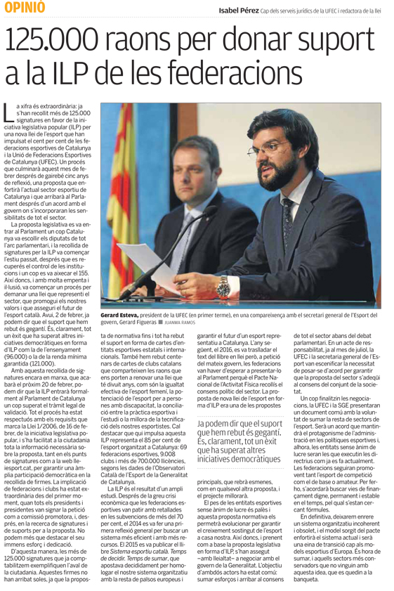 ILP Nova Llei de l'Esport a la premsa  | Federació Catalana de Ball Esportiu