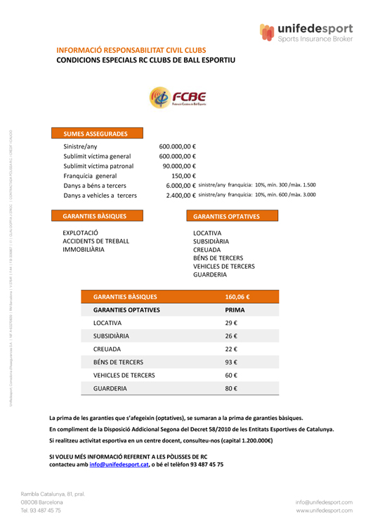 Responsabilitat Civil pels Clubs de Ball Esportiu    | Federació Catalana de Ball Esportiu