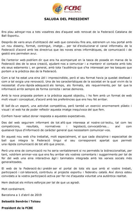 Saluda del President de la FCBE. Nou web  | Federació Catalana de Ball Esportiu