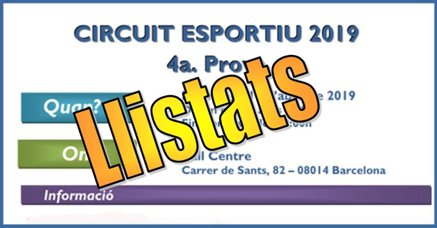 4a Prova Circuit Ball Esportiu Català 2019. Llistats