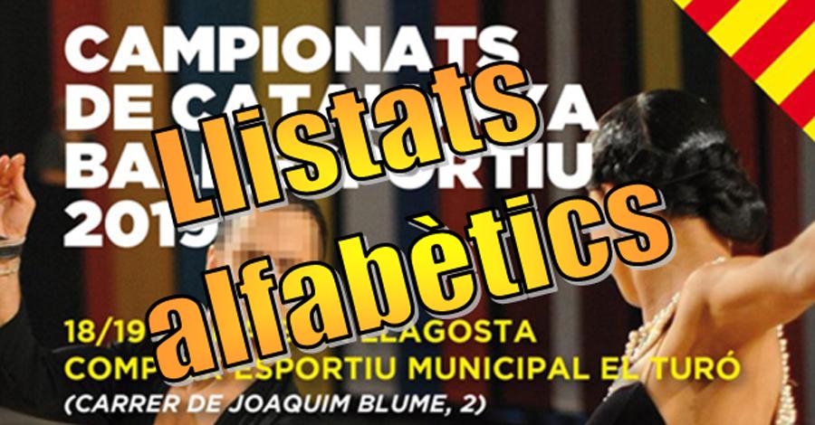 Campionats de Catalunya de Ball Esportiu. Llistats alfabètics