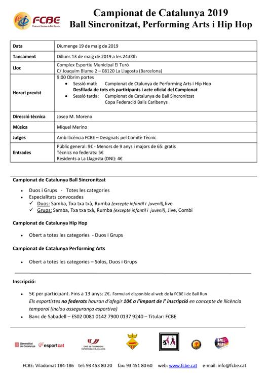 Campionats de Catalunya de Ball Esportiu. Informació i Inscripcions | Federació Catalana de Ball Esportiu