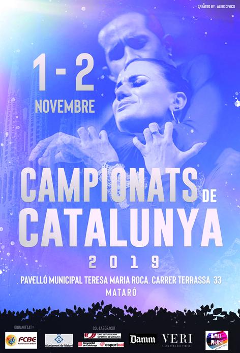Campionats de Catalunya 2019 (Estàndards i Llatins). Pòster | Federació Catalana de Ball Esportiu