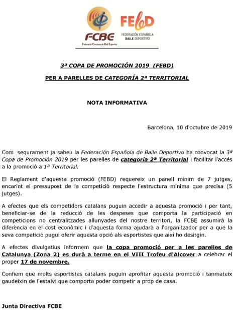 3ª Copa de Promoción de la FEBD per a Cat. 2ª Territorial | Federació Catalana de Ball Esportiu