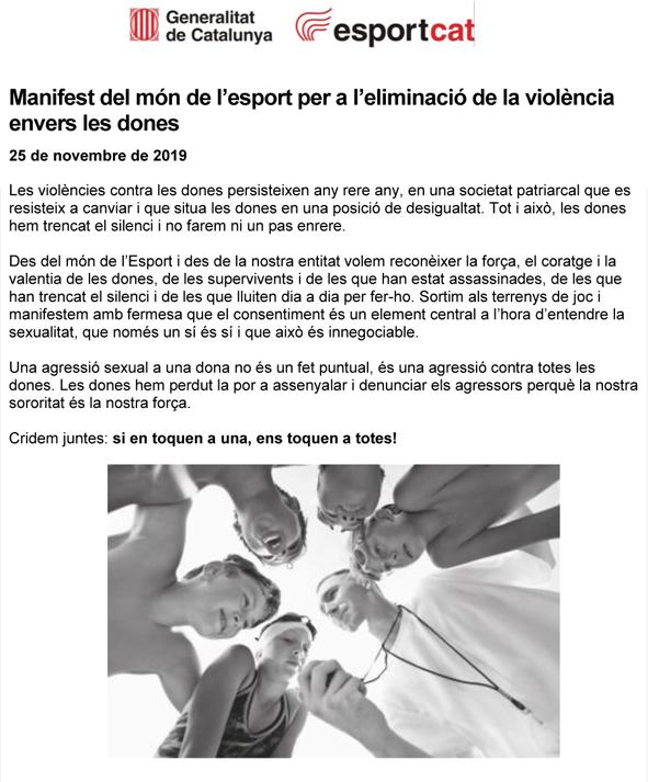 25 novembre 2019 Dia Internacional contra la violència envers les dones  | Federació Catalana de Ball Esportiu