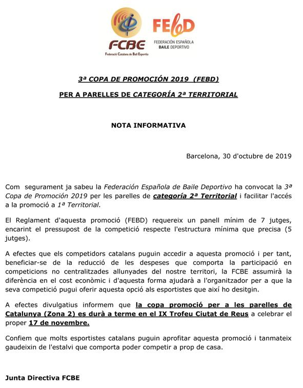 3ª Copa de Promoción de la FEBD per a Cat. 2ª Territorial   Federació Catalana de Ball Esportiu