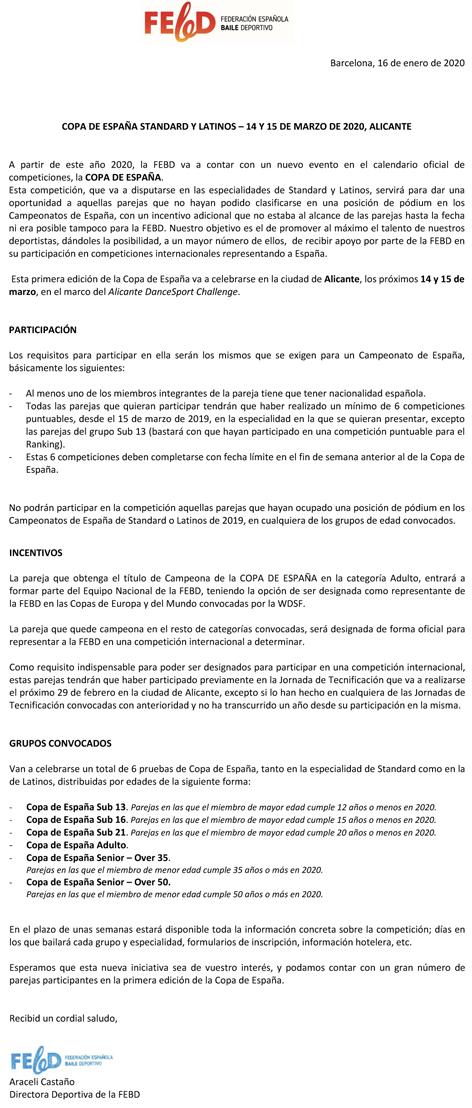 1a Edició de la Copa de España | Federació Catalana de Ball Esportiu