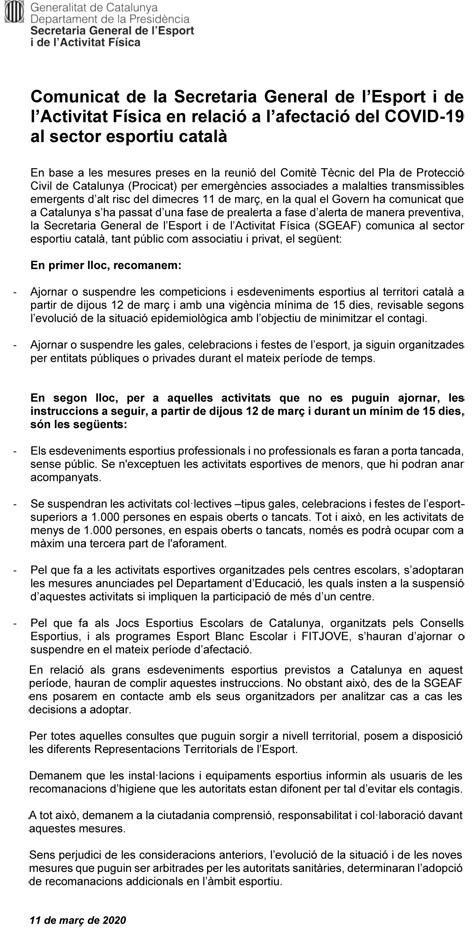 Comunicat de la Secretaria Gral. de l'Esport i Activitat Física (1) | Federació Catalana de Ball Esportiu