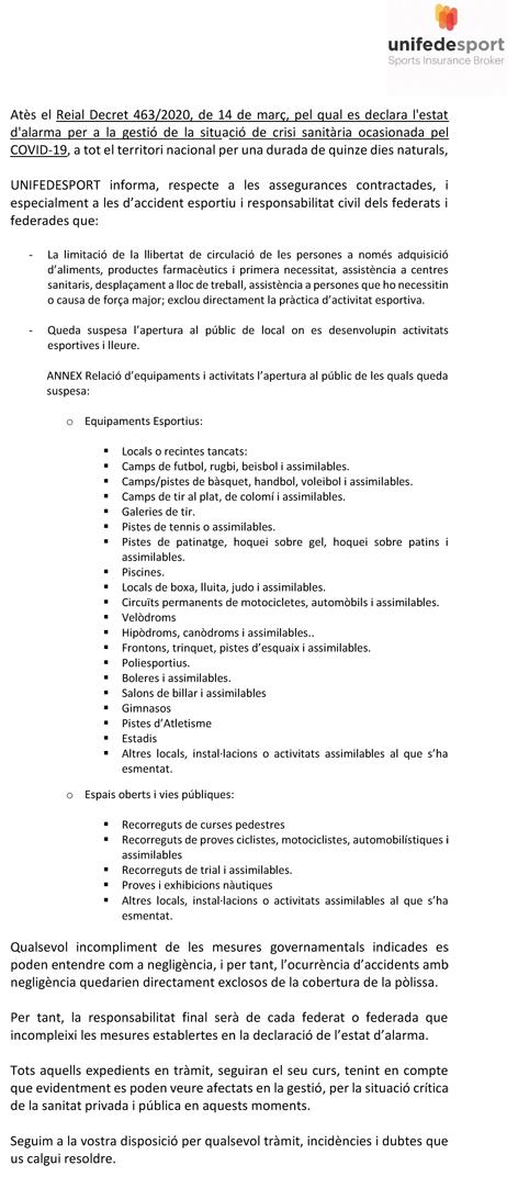 Comunicat de UNIFEDESPORT (Assegurança Esportiva) (1) | Federació Catalana de Ball Esportiu