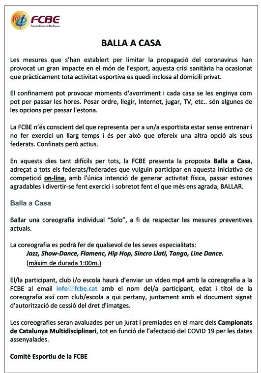 Balla a casa. Envia'ns les teves imatges (Última hora)   Federació Catalana de Ball Esportiu