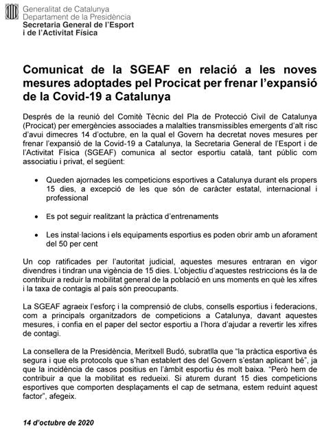 COVID-19. Comunicat de la SGEAF (14/10/2020) | Federació Catalana de Ball Esportiu