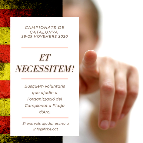 Petició voluntaris pels Campionats de Catalunya 2020 | Federació Catalana de Ball Esportiu