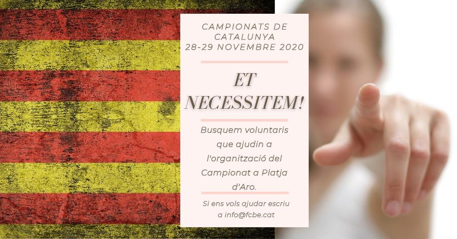 Petició voluntaris pels Campionats de Catalunya 2020