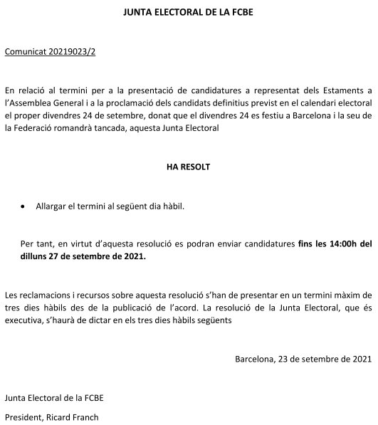 Eleccions FCBE 2021. Comunicat 2 Junta Electoral: Ampliació termini  | Federació Catalana de Ball Esportiu