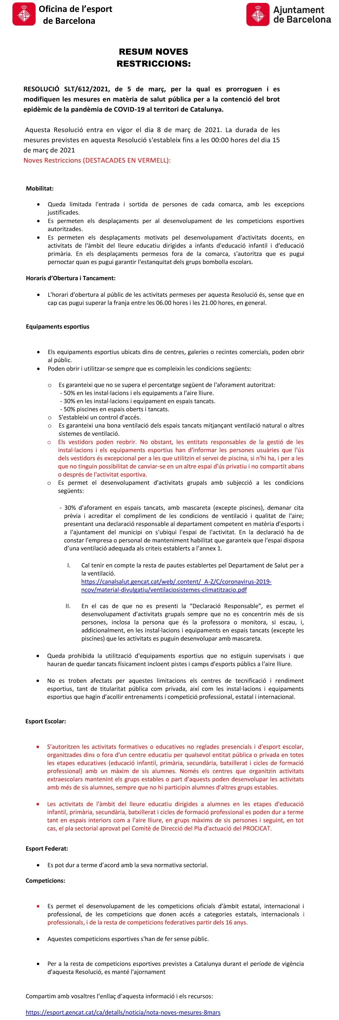 COVID-19. Resolució SLT/612/2021. Afectació al món de l'esport | Federació Catalana de Ball Esportiu