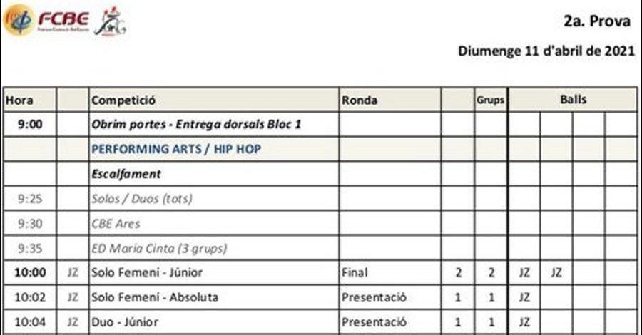 2a Prova Circuit Ball Esportiu Català 2021. Swing Manresa. Nou Horari