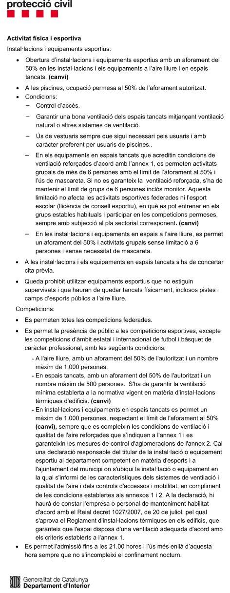 COVID-19. Resum mesures del PROCICAT amb afectació al món de l'esport | Federació Catalana de Ball Esportiu