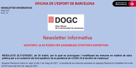 COVID-19. Novetats Resolució SLT/1278/2021 de 30 d'abril | Federació Catalana de Ball Esportiu