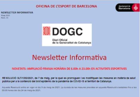 COVID-19. Novetats Resolució SLT/1392/2021 de 7 de maig | Federació Catalana de Ball Esportiu