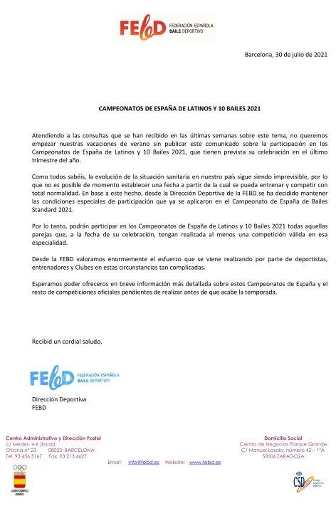 Comunicat Dirección Deportiva de la FEBD CE LAT y 10 Bailes | Federació Catalana de Ball Esportiu