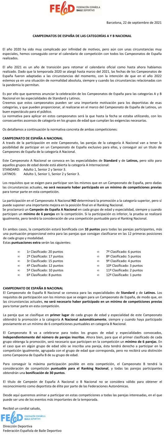 Comunicat Dirección Deportiva de la FEBD CE A i B Nacional | Federació Catalana de Ball Esportiu