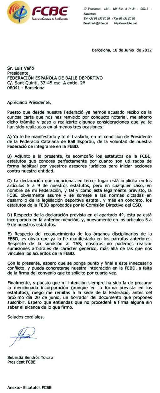 Integració del col·lectiu català a la federació espanyola (FEBD) | Federació Catalana de Ball Esportiu