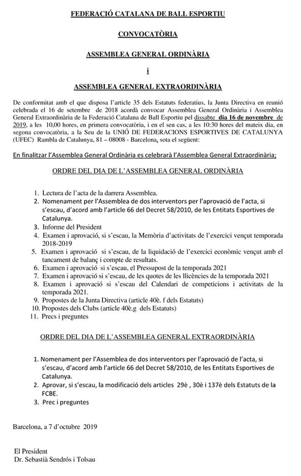 Convocatòria Assemblees Generals de la FCBE 2019 | Federació Catalana de Ball Esportiu