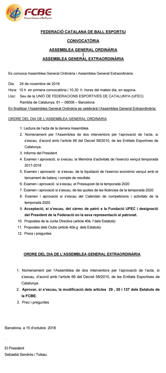 Convocatòria Assemblees Generals de la FCBE  | Federació Catalana de Ball Esportiu