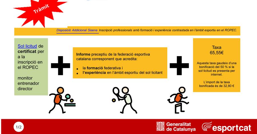 Inscripció tècnics al Registre Oficial de Professionals de l'Esport